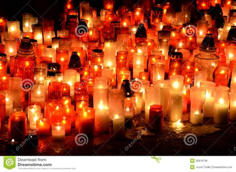 Many Burning Candles In Graveyard Royalty Free Stock Images  Image 26916799