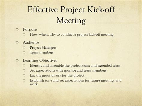 effective project kick  meeting  video
