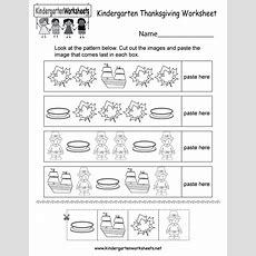 Thanksgiving Worksheet  Free Kindergarten Holiday Worksheet For Kids