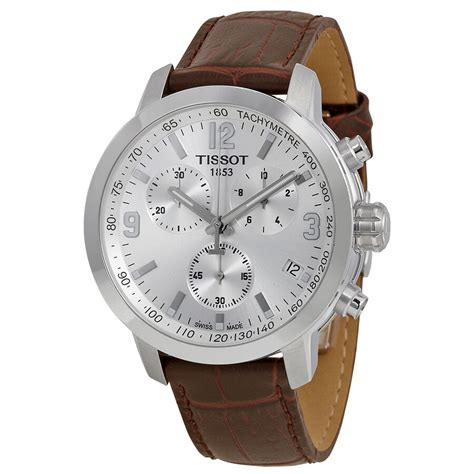 Tissot Prc 200 Chronograph tissot prc 200 chronograph silver brown leather mens