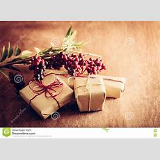 Rustic Retro Gift, Present Boxes With Decorations