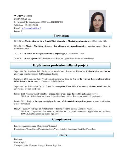 rapport de stage cuisine collective cv mylene wojda pdf par mylene wojda fichier pdf