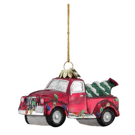 vintage red truck with christmas tree celebrate decorate