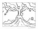 Coloring Island Volcano Volcanic Outline Designlooter Printable sketch template