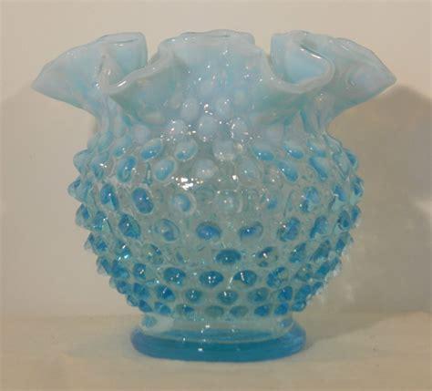 Fenton Blue L by Fenton Blue Opalescent Hobnail Vase 2598 Ebay