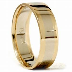 mens gold plain two tone comfort fit wedding band 14k ebay With mens comfort band wedding rings
