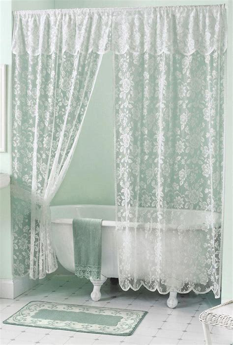 lace shower curtains amazon com rose lace bath shower curtain lace double swag shower curtain pinterest
