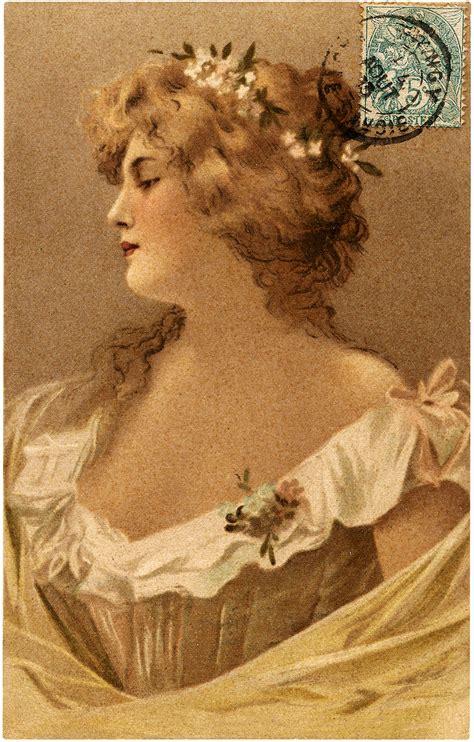 vintage alluring woman portrait  french stamp postcard