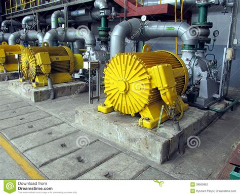 Large Electric Motor by Several Water Pumps With Electric Motors Stock Photo