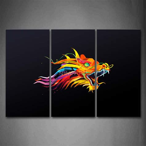 Abstract Painting On Black Background by 3 Wall Painting Like Colorful Black