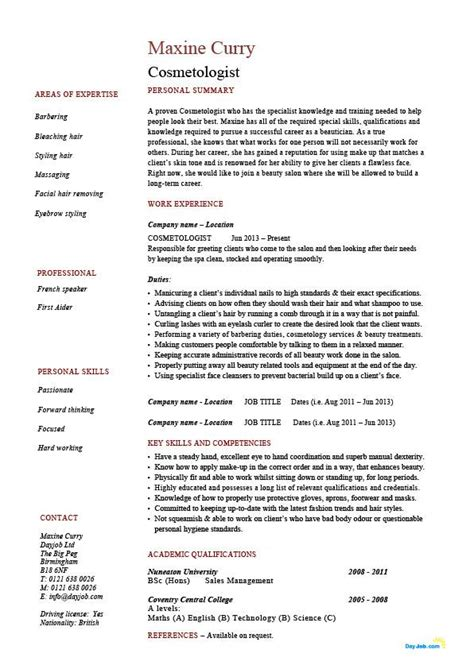 Beautician Cv Template by Cosmetology Resume Cosmetologist Hair Skin Exle Description Sle Career Work