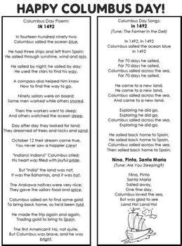 columbus day poem  songs  teaching kids st tpt