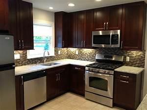 dark cabinets countertop backsplash cabinet handles With small dark kitchen design ideas