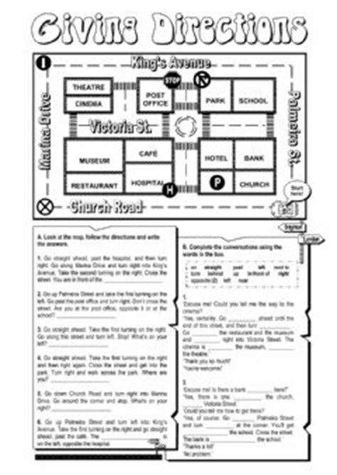 giving directions interactive worksheets