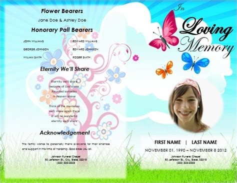 single fold butterflies program funeral program template