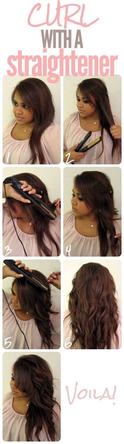 How to curl long hair with a straightener   Hair Style and