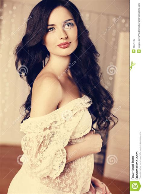 Beautiful Pregnant Woman With Long Dark Hair Wearing Lace Dress Stock Photo Image Of Elegant
