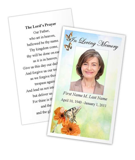 funeral prayer cards templates butterfly prayer card template funeral card