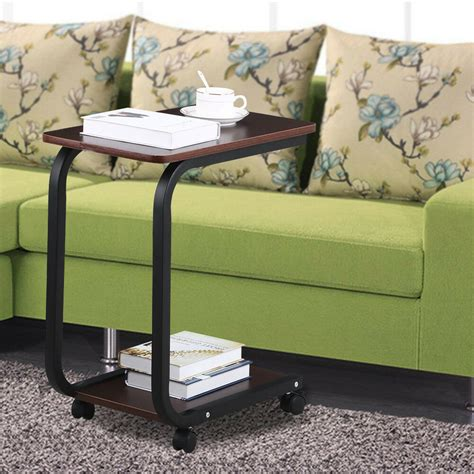 coffee  tier sofa side  snack tray table cart rolling  bed laptop table ebay