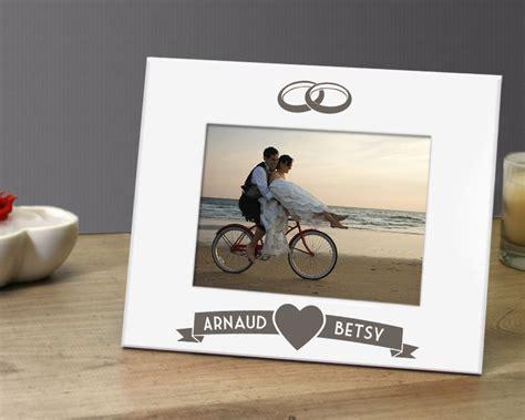 cadre photo grav 233 en m 233 tal blanc mariage