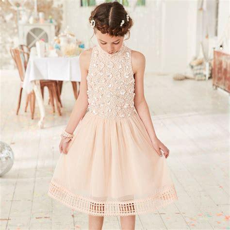 Girls Pink Embellished Mesh Flower Girl Dress Party