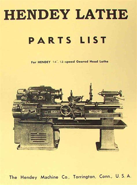 hendey   speed geared head lathe parts manual