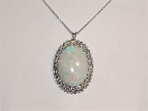 White Gold Opal and Diamond Pendant Necklace, Sun City ...