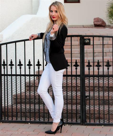 White Denim & Black & White Stripes