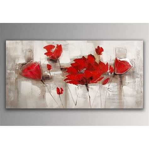 format des toiles a peindre coquelicots rouges tableau floral modern peint 224 la sur toile avec chassis fr