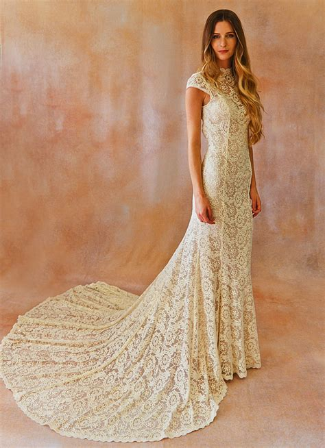 alice cap sleeve lace wedding dress dreamers  lovers