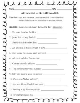 alliteration worksheets for 5th grade kidz activities
