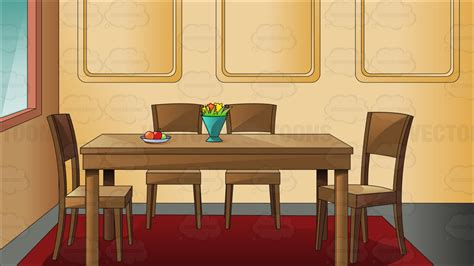 kitchen dining table set traditional household dining room clipart vector