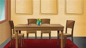 Traditional Household Dining Room Cartoon Clipart Vector