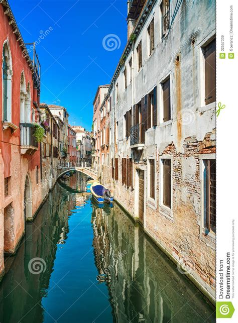 Venice Cityscape Water Canal And Traditional Buildings