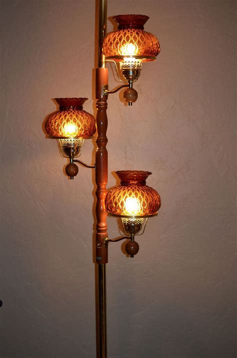 vintage   tension pole lamp wamber glass shades