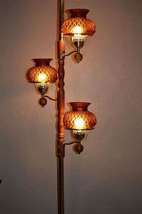vintage 60s 70s tension pole lamp w amber glass shades 3 With floor to ceiling retro lamp