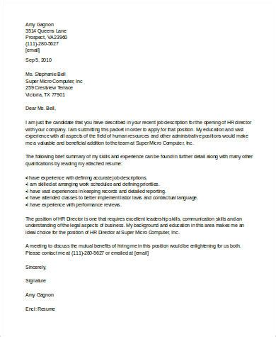 sample human resources cover letter  examples  word