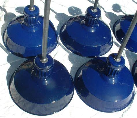 vtg cobalt blue abolite porcelain enamel light fixture