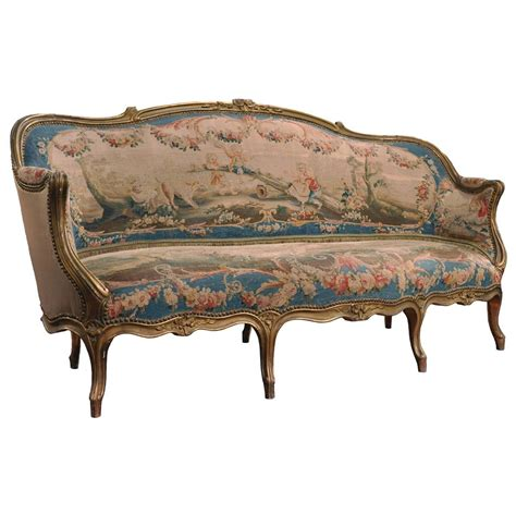canapé sofa 19th century louis xv carved canapé with aubusson