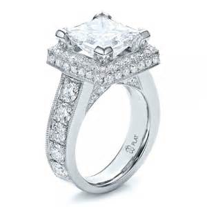 custom princess cut and halo engagement ring 100124 bellevue seattle joseph jewelry - Princess Halo Engagement Rings