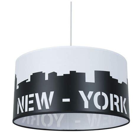 Suspension Tendance Noire Et Blanche Newyork Sur Lampe