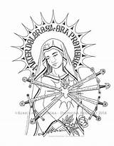 Lady Coloring Sorrows Catholic Mary Fatima Marian Pdf Crafts Heart Boucherie Crucifixion Printable sketch template