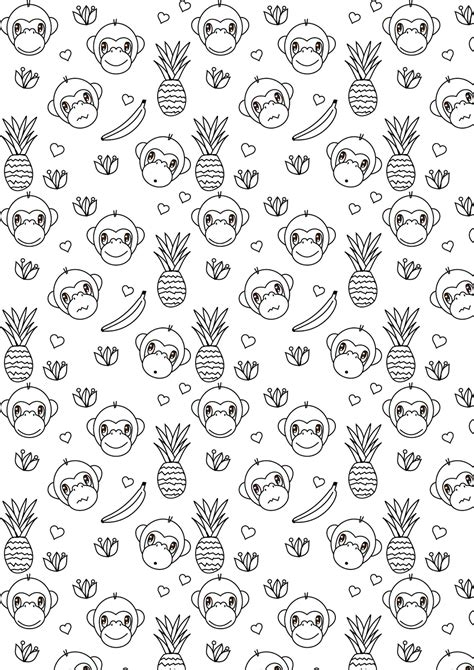 printable monkey coloring page year   monkey