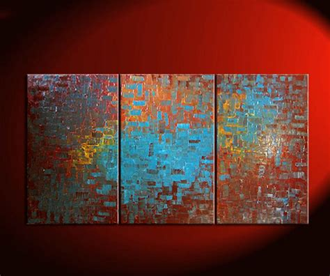 Huge Textured Painting Brown Turquoise Modern Abstract Art