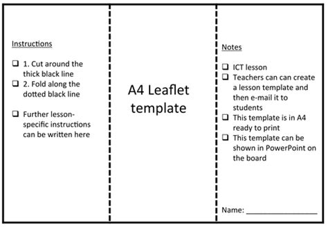 Leaflet Template by Leaflet Template By Rs007 Teaching Resources Tes