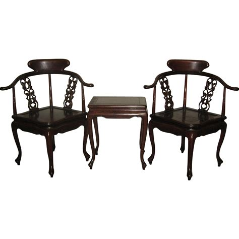corner table and chairs vintage set of two rosewood corner chairs and small table