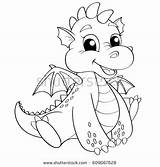 Coloring Pages Dragon Cartoon Football Royalty Dame Notre Vector Illustration Shutterstock Getcolorings Printable sketch template