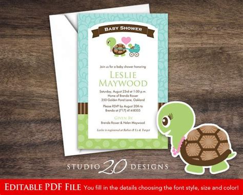 turtle baby shower invitations instant turtle baby shower invitations editable pdf