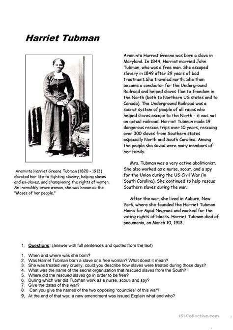 harriet tubman worksheet free esl printable worksheets