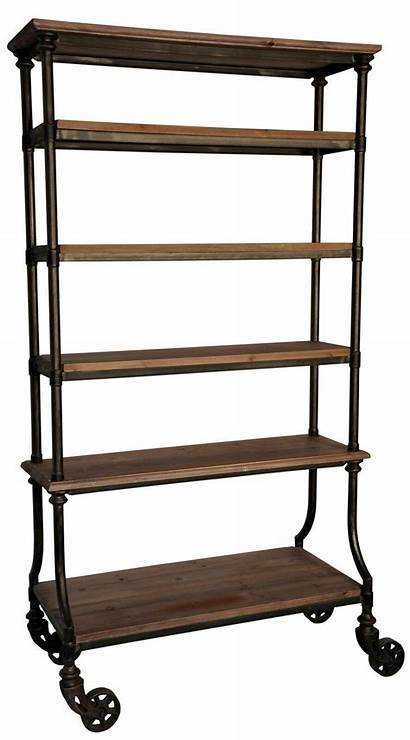 Wood Industrial Metal Shelves Bookcase Tall Rusty